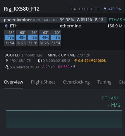 Mining Rig - Sapphire RX 580 - 8Gb - 156 Mhs ETH