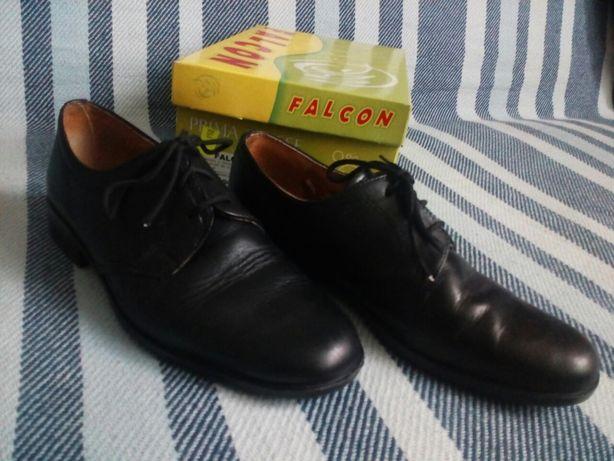Buty Falcon, pantofle chłopięce, skórzane, czarne, rozmiar 34