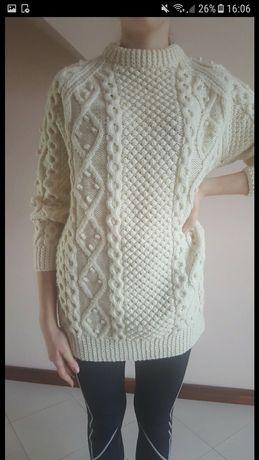 Damski kremowy sweterek handmade S