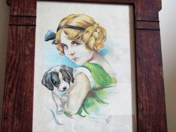 Старинная картина бронзовые вставки. Портрет. Девочка с собачкой