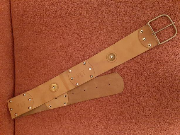 Широкий бежевый кожаный женский ремень, пояс