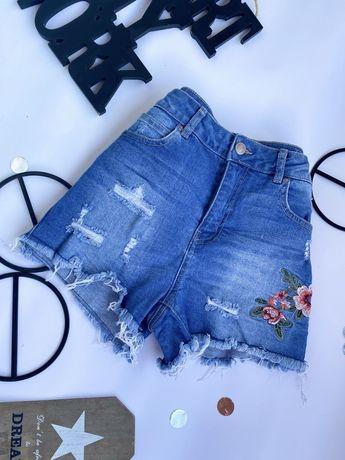 Джинсовые шорты на высокой посадке с вышивкой и необработаный низом