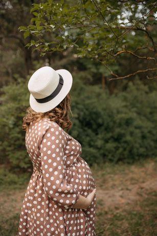 Сукня міді для вагітних в горошок
