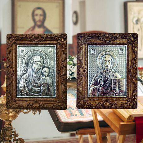 Серебряная венчальная пара, венчальные иконы ручной работы