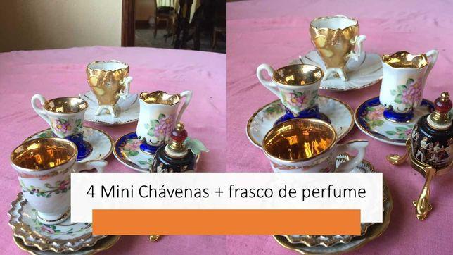 mini chávenas e mini frasco de perfume