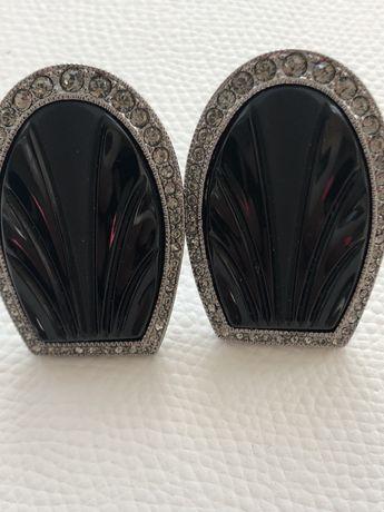 Запонки Dior метаоические инкрустированные стразами