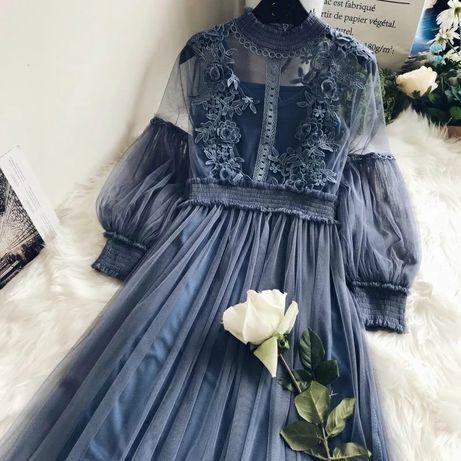 Нежное платье кружево сетка от хс до м