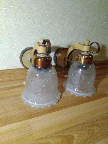 Настенные бра светильники с хрустальными плафонами, пара