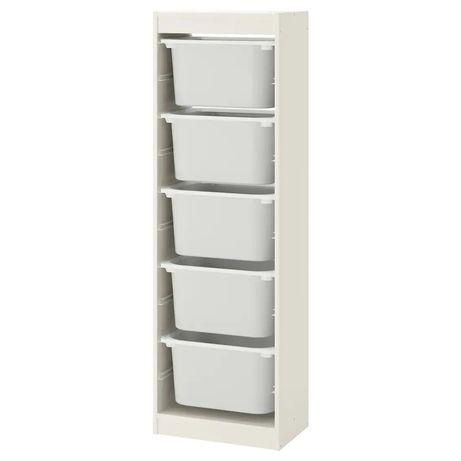 Regał z pojemnikami, biały/biały46x30x145 cm z Ikea