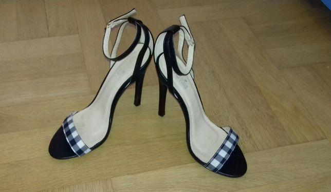 37 / 23,5 cm - wysokie szpilki Red Kiss sandały na wysokim obcasie