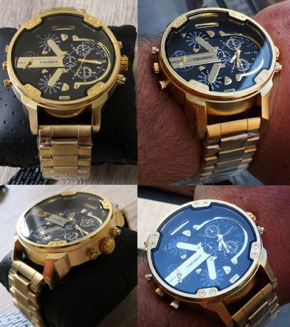PROMOCJA Zegarek męski złoty, czarny na bransolecie, sportowy moro
