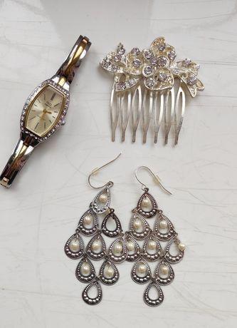 Набор, комплект- сережки, часы и гребешок (заколка)