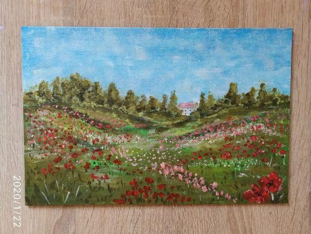Картина Маковое поле, акрил, 20*30см