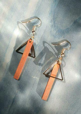 Стильные геометрические серьги из дерева минимализм, идеальный подарок