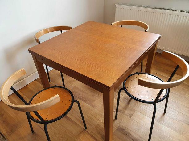 Stół rozkładany drewniany IKEA i zestaw krzeseł