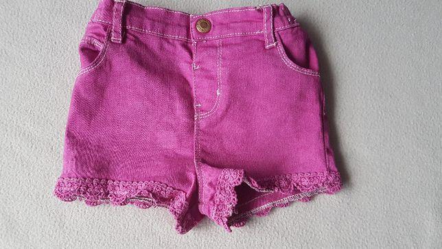 Spodenki krótkie lato PRIMARK róż jeans 18-24m 92