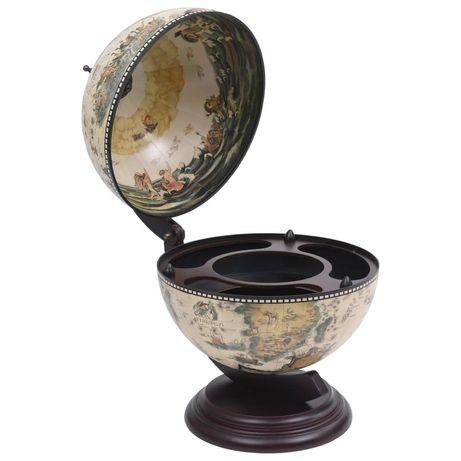vidaXL Garrafeira de mesa em forma de globo madeira de eucalipto branco 320910