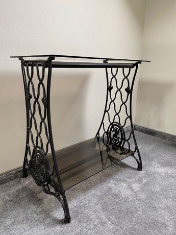 SINGER - stolik z blatem i półką szklaną na maszynie SINGER