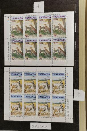 Arkusze x2 : Dzikie Zwierzęta. Tanzania 1986 Mi 328-331 Czyste. Zestaw