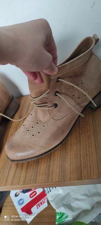 Buty botki kamasze skórzane