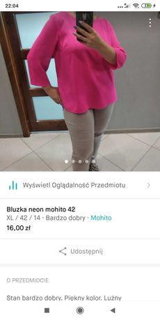 Bluzka mohito 42 neon róż