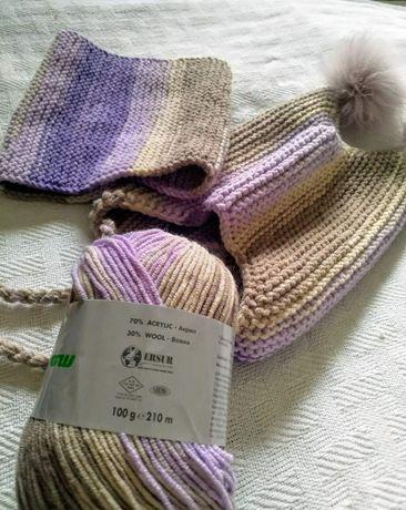 Вязанная шапка для ребенка + снуд-манишка