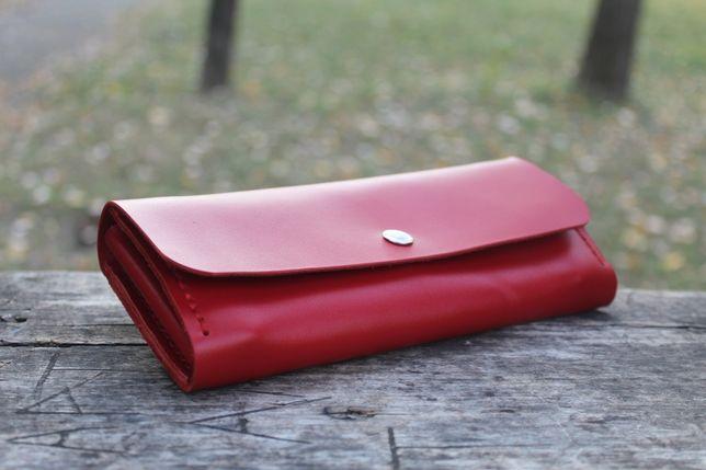 Женский кошелек из кожи ручной работы винтажный портмоне кожа кайзер