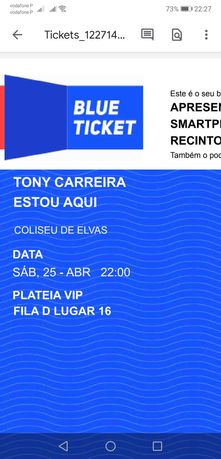 Vendo bilhete para concerto do Tony Carreira em Elvas dia