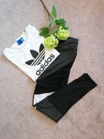 Spodnie leginsy z siateczką czarne białe trening siłownia M