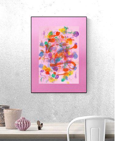 kolorowa dekoracja, różowa abstrakcja na ścianę, grafika kolorowa róż