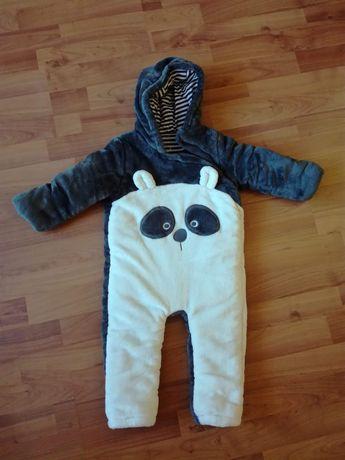"""Kombinezon welurowy szaro-biały Panda rozmiar 12-18 miesięcy """"F&F"""