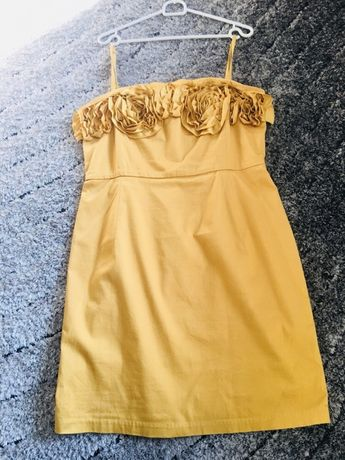 Sukienka reserved rozmiar 42 kolor musztardowy chrzciny ślub