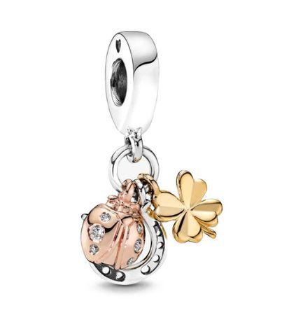 Srebrny charms zawieszka koniczyna podkowa do bransoletki Pandora