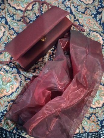 Комплект:Платье+Сумочка+палантин хамелион бардовые