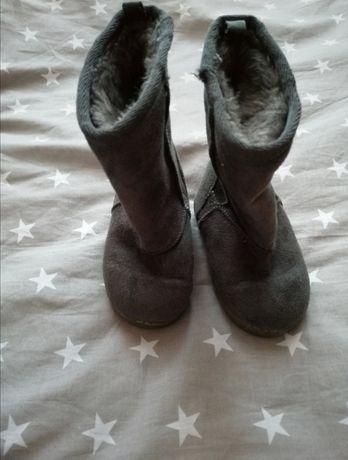 Buty kozaczki ocieplane szare