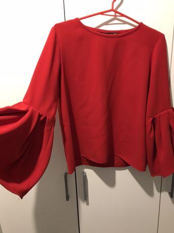 Bluzka Zara czerwona rękawy dzwonek rozmiar S