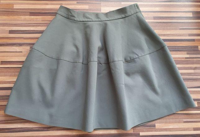 Zielona khaki spódnica Aggi r.36 z koła rozkloszowana