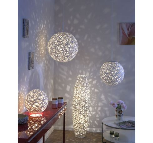 Orientalna biała kula plecionka lampa wisząca KAKI E27 50 cm średnicy