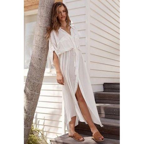 Пляжная туника-рубашка . Летняя накидка. Платье для пляжа белое