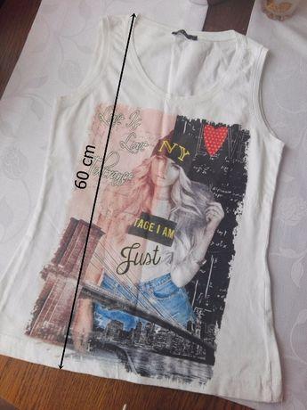 t-shirt koszulka biała bez rekawow