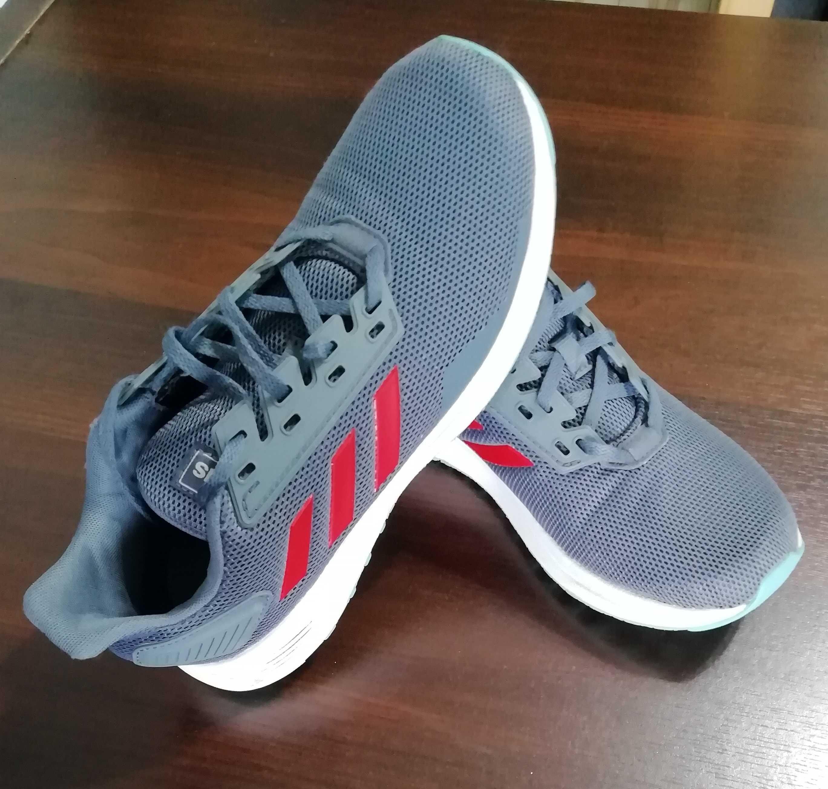 Buty dla dzieci adidas Duramo 9 K szaro-czerwone r 38