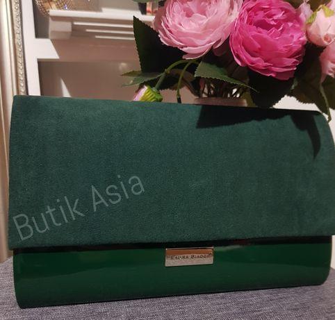 Torebka zielona kopertowa kopertówka zamszowa lakierowana nowa piękna