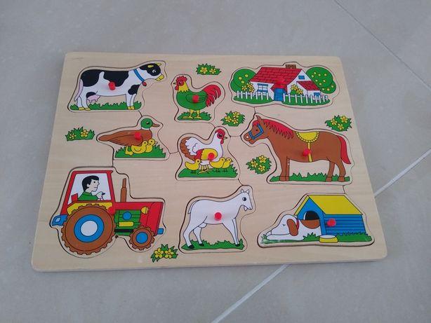 Układanka drewniana puzzle zwierzęta gospodarstwo traktor