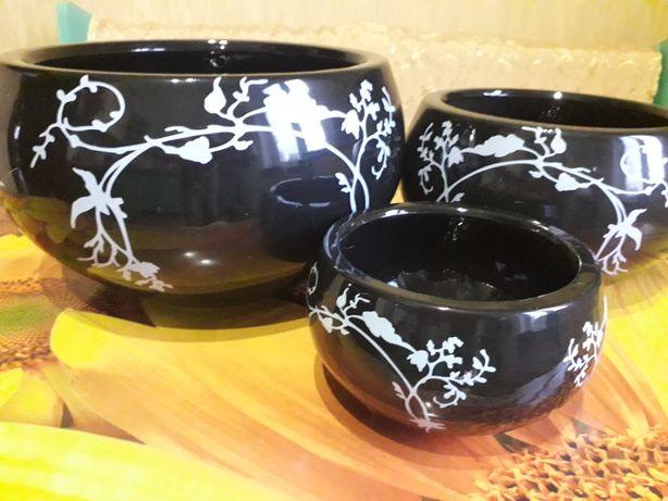 Кашпо вазы керамические 3 штуки