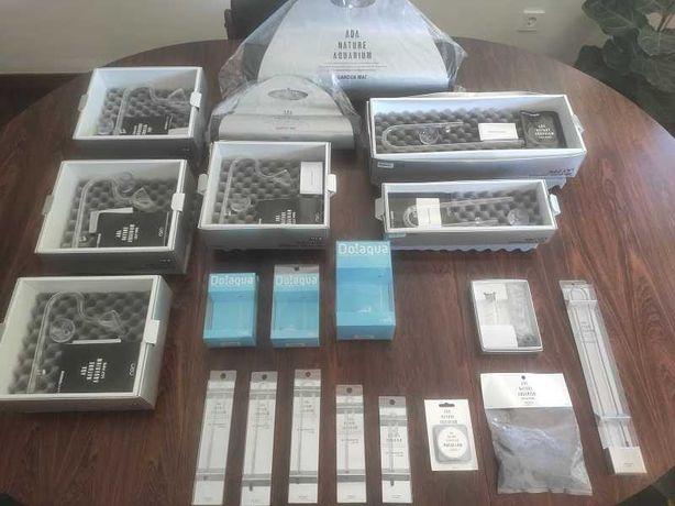 Material ADA p/ aquários NOVO, Lilly pipes, difusores CO2, termometros