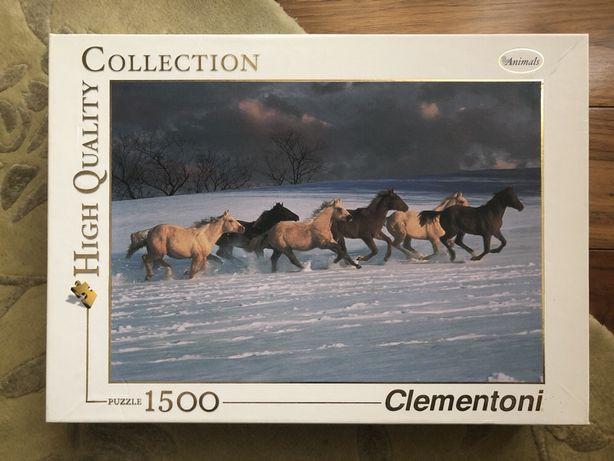 Пазлы Clementoni Animals. Картина с лошадьми. 1500 деталей