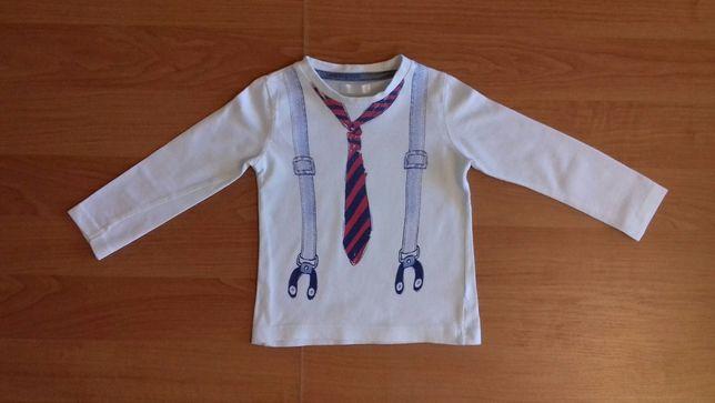 Bluzka bluzeczka długi rękaw krawat szelki rozmiar 80 9/12 m-ce