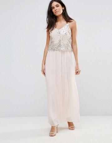 elegancka sukienka z cekinami club l pudrowy róż
