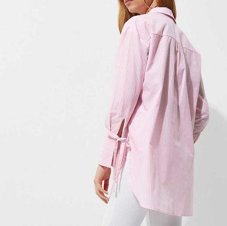 Свободная рубашка в розовую полоску с завязками на рукавах хлопок
