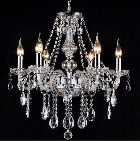 Lampa KRYSZTAŁOWA Duża 6xE14 wisząca ŻYRANDOL GLAMOUR szkło